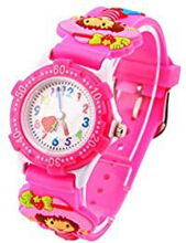 Keymao Little Girl Waterproof 3D Cute Cartoon Silicone Wristwatches Gift for Little Girls Boy Kids Children Pink
