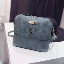 [LESHP]Women Single Shoulder Bag Small Deer Pendant PU Leather Lady Crossbody Blue
