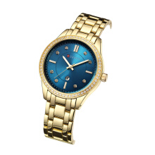 CURREN Luxury Brand Fashion Casual Ladies Quartz Simple Clock Gift Crystal Design Relogio Feminino