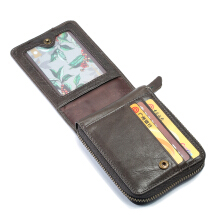 Bullcaptain RFID Antimagnetic Vintage Genuine Leather 11 Card Slots Coin Bag Wallet For Men  Grey