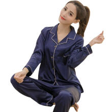 Farfi Women Solid Color Silky Pajama Set Long Sleeve Top Pants Two-pieces Sleepwear