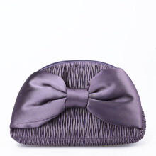 NaRaYa Pleated Satin Bag with Mega Bow NPL-570 NO.234 Purple