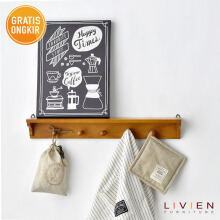 LIVIEN Dapat 2 Rak Dinding Serbaguna White and Maple