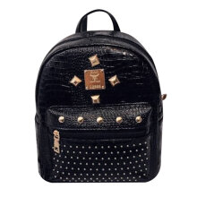 [LESHP]Small Women Ladies Backpack Soft PU Leather Casual Rivet Female Shoulder Bag Gold
