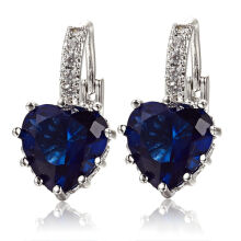 Farfi Women's 18K White Gold Plated Sapphire Blue Rhinestone Heart Leverback Earrings