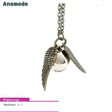 Anamode Trendy Harri Potter Pendant Necklaces Deathly Ball Double Wing Snitch Jewelry -Gold