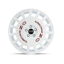 OZ Rally Racing White + Red Lettering Velg Mobil R18 X 8 et 45 - PCD 5 x 108