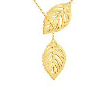 SESIBI Europe and the United States Fashion Trend Jewelry Leaves Double Leaves Wild Necklace Chain - Gold