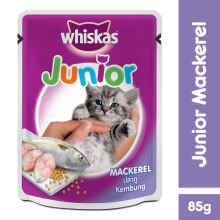 Whiskas Pouch Junior 85Gr Makanan Kucing Rasa Mackerel [Isi 6 Pack] 112365X6