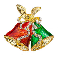 [COZIME] Christmas Bell Brooch Delicate Alloy Crystal Rhinestone Pin Jewelry Gift Multi-Color