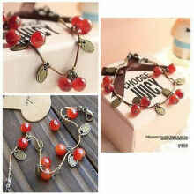 Gelang Korea Fashion Cherry Imut Cute Sweet Cherry Red