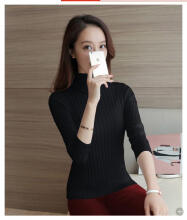 Okechuku Elza Sweater Rajut Leher Tinggi Knit Sweater Korean Style Okechuku Black