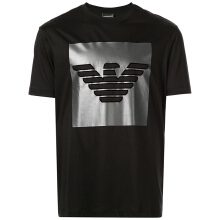 Armani men's Eagle-labeled T-shirt with a slim round collar and short sleeves 3G1T67
