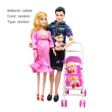 [COZIME] 5 People Dolls Suit Pregnant Doll Family Mom+Dad+Baby Son+2 Kids+Baby Carriage Random