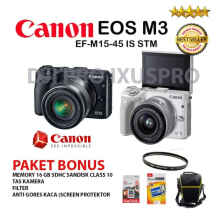 CANON EOS M3 KIT 15-45MM PAKET BONUS - KAMERA ORIGINAL MADE IN JAPAN