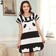 Farfi Cute Women Cartoon Panda Sleepwear Pajamas Short Sleeve Sleepshirt Nightdress