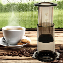 JDwonderfulhouse Portable Filter Press Coffee Maker Pot Hand Pressure Machine Free Filter Paper-Silver