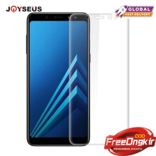 JOYSEUS 3D Full Cover Tempered Glass For Samsung Galaxy A8 2018 TRANSPARENT glass Screen Protector Glass Full Cover Curved Edge 1 Pack-Transparan