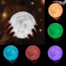 Farfi 3D Romantic Moon Lamp USB LED Moonlight Table Desk Wood Base Night Light Gift