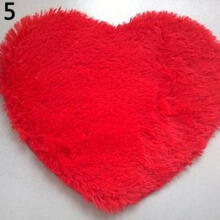 Farfi Short Plush Carpet Kids Heart Shape Cushion Shaggy Area Rug Anti Slip Door Mat