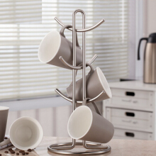 Jantens Kitchen Storage rack Standing Cup Of Coffee Organizer Coffee Tea Cup Storage Holder Silver