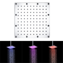 [OUTAD] 6 Inch Square LED Top Shower Spray Head Automatic Color Change Heads Silver