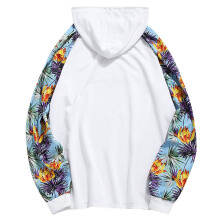 Fashionmall Floral Printed Raglan Sleeves Long Sleeve Hoodie