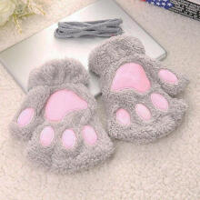 Farfi Cute Fluffy Bear/Cat Plush Warm Soft Half Covered Gloves Mittens Gift Decoration Light Gray