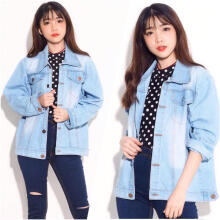 HNC SHOP Jaket Jeans Denim Big size Wanita SARRA Fit to XXL – SOFT BLUE