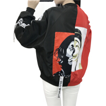 SiYing Fashion Jacket College Wind Patch Colorblock Thin Jacket Women