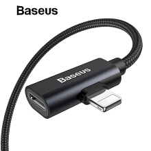 Baseus 2 in 1 Audio USB Cable for iPhone X Xs XR 8 7 Plus Charging Earphone Aux Music Splitter Cable Lightning Charger Cable - Black 2 in 1 Audio USB Cable