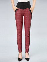 Casual Patchwork Elastic Waist Women Tight Warn Velvet Pants Red2 XL