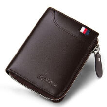 L'ALPINA 672052055 Men's leather Cowhide two fold horizontal section leather card holder wallet multi-function wallet-Coffee