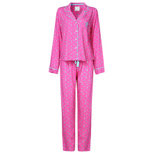 Zanzea 0051 Women Plus Size Small Lape Thin Long Sleeves Cotton Soft Pajamas Sets Sleepwear Loungewear  Pink L