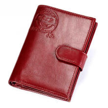 Zanzea Women Genuine Leather Trifold Card Holder Small Short Wallets Red