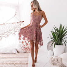 Newlan  Sexy Embroidery Lace Dress Asymmetrical Backless Slim Club Mesh Dress