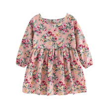 Farfi Floral Printed Children Girls Princess Long Sleeve Round Neck Dress