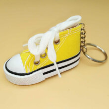 Creative canvas shoes keychain yellow