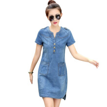 Jantens New ladies summer denim dress short sleeve loose A-line dress v-neck