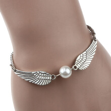 Jantens 1PC Fashion New Silver Imitation Pearl Angel Wings Jewelry Dove Peace Bracelet for Silver
