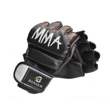 A Pair/Set Comfortable MMA Boxing Gloves Soft PU Half Finger Training Gloves black