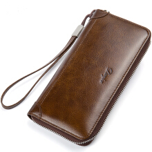 jantens Men Wallet Genuine Leather Male Purse Long Phone Bag Natural Cowhide Clutch Bag Brown