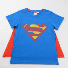 [COZIME] Fashion Cartoon Printed T-shirts Short Sleeve Clothes Boys Girls With Cloak Blue1  2