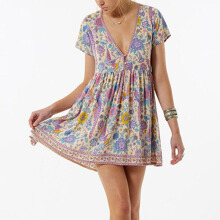Jantens Bohemian Vintage Mini Dress Women Fashion V-neck Short Sleeve Summer Beach Dress