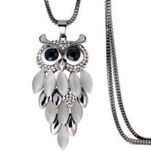 SESIBI Classic Opal Stone Owl Pendant Long Necklace Women Statement Necklaces & Pendants Trendy Jewelry Gift