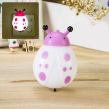 Farfi LED Bedside Baby Night Light Ladybug Shape Plug In Wall Lamp Home Table Decor Random Color