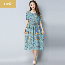 BLINGO New Waist Floral Printed Linen Maternity Dress Spring Summer Fashion Clothes for Pregnant Women Pregnancy Dresses