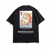 Ta To 2019 Men Hip Hop T Shirt Streetwear Monster Cat T-Shirts Harajuku Japan Style Funny Tshirt Summer Short Sleeve Cotton Tops