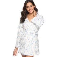 Farfi Sexy Women Flower Print Long Sleeve Nightdress Robe Sleepwear Home Lounge Wear