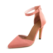 Cool Solid Pointed Toe Zipper Stiletto Pumps Pink 41